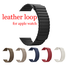 CRESTED leather loop band apple watch 42mm 38mm iwatch 3/2/1 bracelet watchband Adjustable Magnetic Closure leather belt