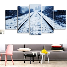 Modular Painting Canvas Wall Art Frame Pictures Kitchen Restaurant Decor 5 Pieces Snow Railway Landscape Track HD Printed Poster