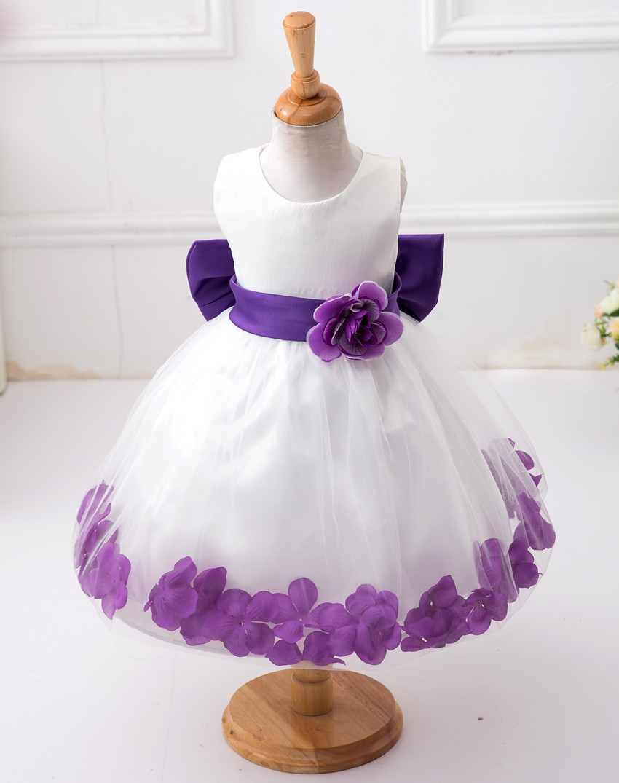 Kids Infant Girl Flower Petals Dress Children Bridesmaid Toddler Elegant Dress Pageant Vestido Infantil Formal Party Dress<br><br>Aliexpress
