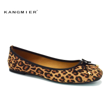 shoes women suede Leopard ballet flat shoes square toe bowtie slip on KANGMIER comfortable autumn ballerina flats plus size(China)