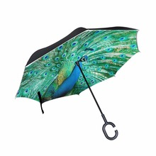 Creative C Hook Free Handle Reverse Umbrella Peacock Double Layer Windproof Rainy Sunny Umbrella(China)