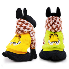 High Quality Pet Cat Dog Clothes Cartoon  Garfield Winter Thick Warm Jumpsuit Coat Jacket Size XXS XS S M L