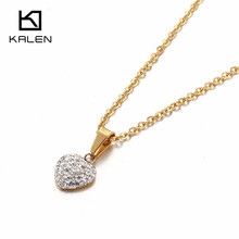 Kalen New Stainless Steel Gold Color Metal Jewelry Rhinestone Heart Pendant Necklace For Women Romantic Girls Accessories Gifts