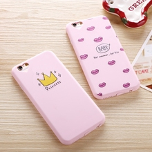 Soft Pink Kiss Princess Pattern Luxury Case for iphone 6  Plus Silicone TPU Cover for iphone 6S 5S  Pretty Crown Dust Plug