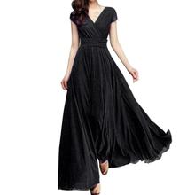 Buy Feitong Fashion Women Casual Solid Chiffon V-Neck Evening Party Long Dress sexy evening party plus size 3 XL hot sale 2018 style for $17.90 in AliExpress store