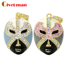 Colorful Diamond USB Flash Drive 8GB 16GB Pen Drive 32GB Pendrive U Disk Gold Silver Crystal Mask Memory stick Gift