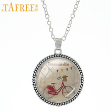 TAFREE Red Bicycle statement necklace bike Youthful energetic pendant art picture Glass men women send for friends jewelry A70(China)