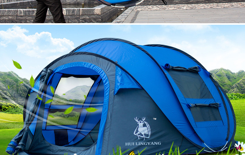 HYL camping pop up tent large 3-4 person windproof (5)