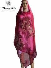 BM226! New Net embroidery Scarf Muslim Embroidered Women Scarf ,2016 Burgundy scarf Big scarf for Shawls Wraps