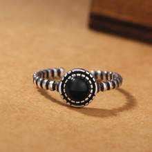 European Style Sterling Silver Black onyx retro opening ring Women Jewelry CR004