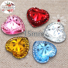 50pcs shiny red heart Acrylic rhinestone Flat back Cabochon Art Supply Decoration Charm Craft DIY 15mm no hole