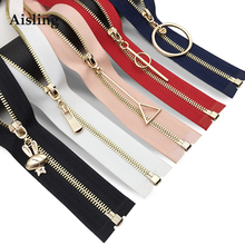 Aisling 50Cm 60CM Open-End Metal Zippers For DIY Sewing Arts Craft Sewing Zipper Bag Clothes Decorative Accessories D392(China)