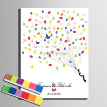 Fingerprint Tree Signature Canvas Painting Flight Sim Wedding Gift wedding DIY decoration Party Gift (Includes 6Ink Colors)(China)