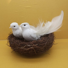 Artificial Animal White Pigeon Bird Wedding Decoration Craft DIY Accessories(China)