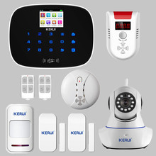KERUI G19 Wireless GSM RFID SMS Home Burglar Alarm System Door Sensor Open Remind Ip HD Wifi Camera Alarm Smoke Gas Detector