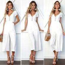 f6d18eda2a3 Fashion Women Party V neck Jumpsuit Romper Clubwear Playsuit Ladies Loose  Chiffon Pure Color Jumpsuit With
