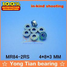 High quality 10PCS MR84-2RS ABEC-5 4*8*3 mm Miniature Ball Bearings MR84RS L840 Blue rubber seal cover(China)