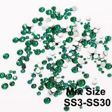 Mix Размеры изумруд, не исправление Дизайн ногтей горный хрусталь с круглой Flatback для 3D Дизайн ногтей украшения Драгоценные камни платье и Сум...(China)