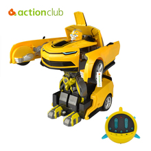 Actionclub Remote Control Car Deformation Robot Children Electric Toys One Key Deform Transformation Cool Dynamic Robot Toy