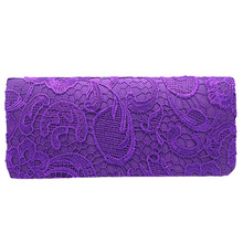 Bridal Wedding Satin Evening Bags Lace Floral Day Pouch clutch women Purse Party