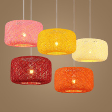 HAXIANG Modern Simple Linen Woven Rattan Pendant Lights Multicolor Bedroom Restaurant Lamps E27 Indoor lighting