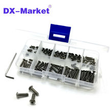 m3 Titanium screw kit , 10 size 100pcs , m3 hex socket button head screw , ISO 7380 Titanium bolt , super light screws 4mm-20mm(China)