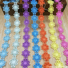 15 yards / lot Water-soluble flower shape Embroidery Lace Ribbon trim for clothing accessories Crafts 11 colors to choose from(China)