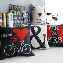 "Love to travel with"" I LOVE YOU"" & MR & MRS cotton cushion  pillow  Linen cushionss home Decor sofa cushions"