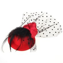 Feather Mini Top Hat Rose Mesh Dots Hair Clip Veil Fascinator Wedding Red