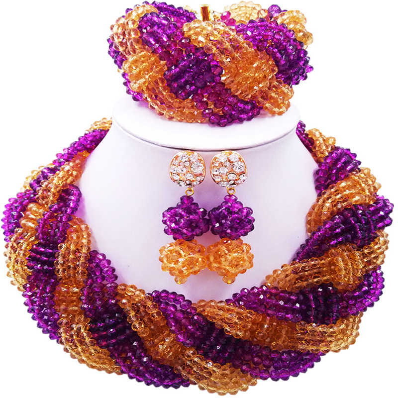 ACZUV Purple Gold African Beads Nigeria Traditional Wedding Jewelry Sets 12C-004