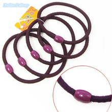 5pcs/lot Purple Bead Ponytail Holder Elastic Hair Bands Hair Cord Ties Hair Ropes For Girls Women Hair Accessories