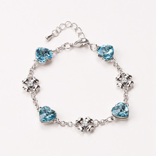 DingTing European and American style heart charm crystal peacock bracelet Korean fashion jewelry temperament Christmas gifts