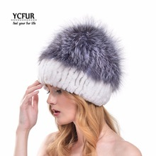 2016 New Design Fashion Women Fur Hats Winter Natural Rex Rabbit Fur Hat With Silver Fox Fur Top Rabbit Caps Winter YH169