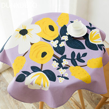 DUNXDECO Tablecloth Round Table Cover Fabric Country Style Garden Flora Lilac Ground Poly Cotton Blend Home Decoration