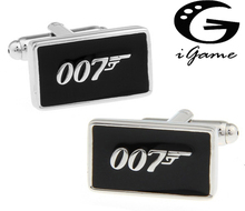 Promotion!! 007 Cufflinks black color fashion novelty james bond movie design copper material free shipping(China)