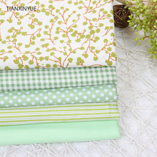 Green Tree Cloth fabric 5pcs Cotton Fabric For Sewing patchwork fabric stripe home Textile Window curtains Cloth 40 *50 cm(China)