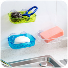 Drain Seamless strong suction wall soap box, sponge ball racks steel storage box