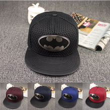 Casual Men Batman Metal Logo Hip Hop Snapback Cotton Baseball Cap Hat(China)