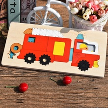 Baby Educational Toy Wooden Multilayer Jigsaw Puzzle Toys Early Education 3D Puzzle School Bus Fire Fighting Truck Puzzle