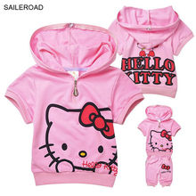 Hello kitty children clothing short sleeve T-shirt +pants kids girls clothes suits cotton summer baby girl's clothing SAILEROAD