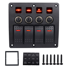 3 PIN 4 Gang 12v 24v Red Led Car Marine Boat Rocker Switch Panel Circuit Breakers Overload Protected Car Switch Panel CY679-CN
