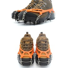 1Pair 8Teeth Claws Ice Crampons Manganese Steel Ice Gripper Ski Snow Cleats Hiking Climbing Non-slip Shoes Chain Cover VS084 T28