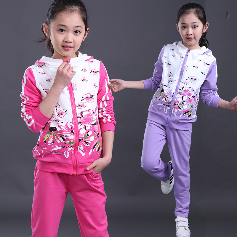 Kids clothes sports suit girls clothes long sleeve set Hooded coat +pants girls kids sport suit autumn 6 8 10 12 14 16 year<br><br>Aliexpress