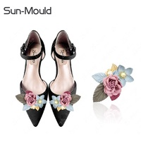 1pair shoes flower charms Patch on Applique DIY clothing bags Patch Sewing on Appliques high heel flats lady shoes deocration(China)