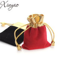 XINYAO 10Pcs/lot 7x9/9x12cm Red/Black Velvet Bag Drawstring Pouch Jewelry Packaging Storage Christmas/Wedding Gift Bag F1846