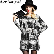 AlexNamgyal 2016 women's sweater female wool knitted stretch sweater dress woman newspaper printing large size pullovers NZ45