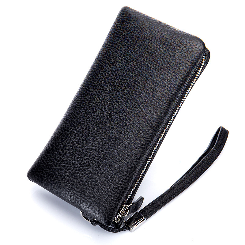 Business Mens Wallet Long First Layer of Leather Money Bag Genuine Leather Zipper Wallet Ostrich Pattern Men Clutch Bags<br>