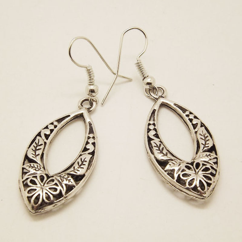 EQ025 Antique Tibetan Silver Color Hollow Carved Plant Drop Fashion Vintage Earrings For Women Valentine's Day Gift Jewelry(China)