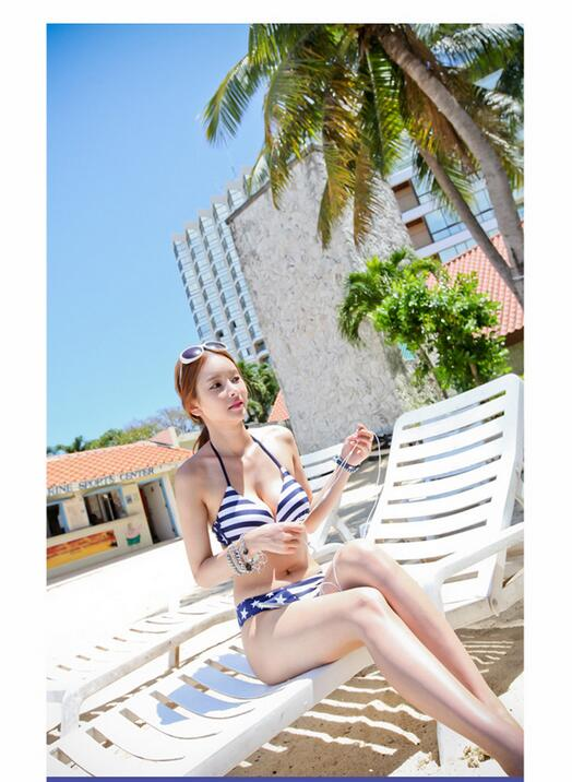2017 Hot Spring Three Pieces Bikini Suits Striped And Star Slim Was Thin Conservation Swimsuits Push Up Biquini Steel Bra DB179<br><br>Aliexpress
