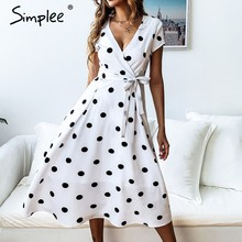Simplee Sexy v-neck women dress Elegant sashes A-line summer dress Polka dot print short sleeve cotton ladies dress vestidos(China)